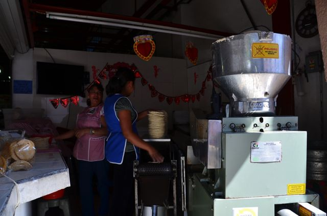 A mini tortilla factory in the center of town - the lovely woman gave us two for Free!