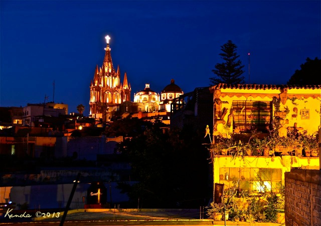 La Parroquia at night as seen from our rooftop terrace.
